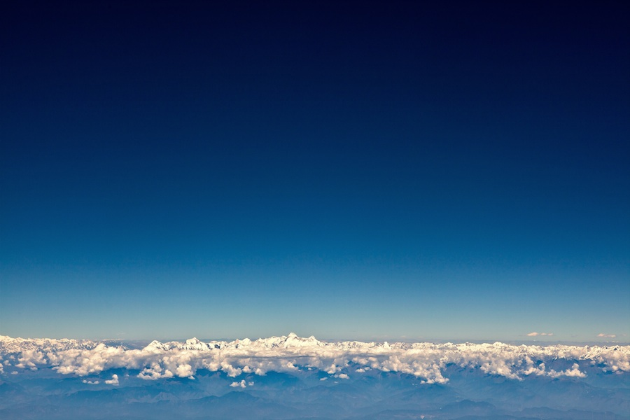 Himalayas of nepal from airplane by lane a. davis